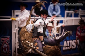 Bull rider holds on tight!