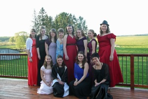 Gathering of Homeschooled Girls in Prom Dresses